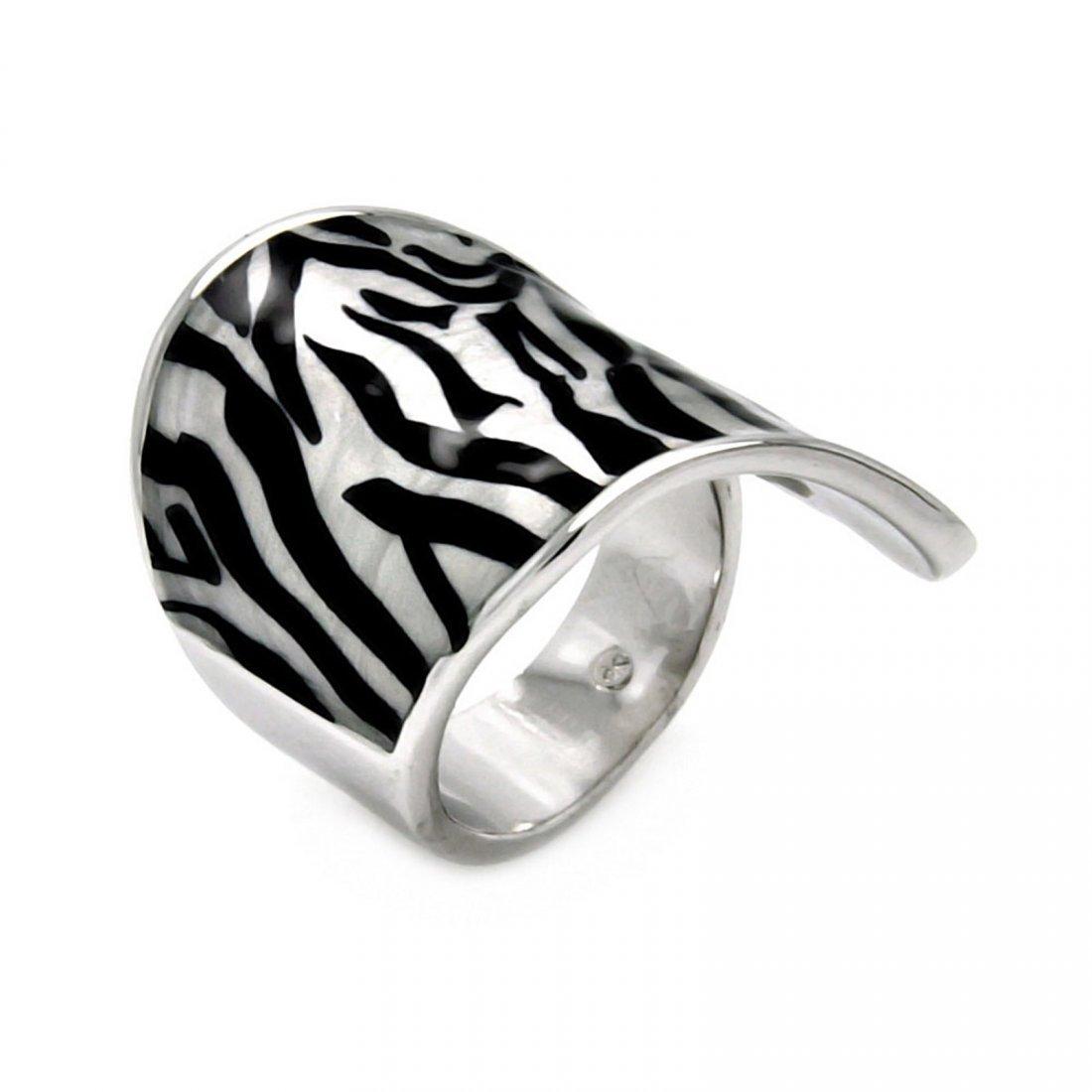 Rhodium Plated Brass Zebra Stripe Print Enamel Ring