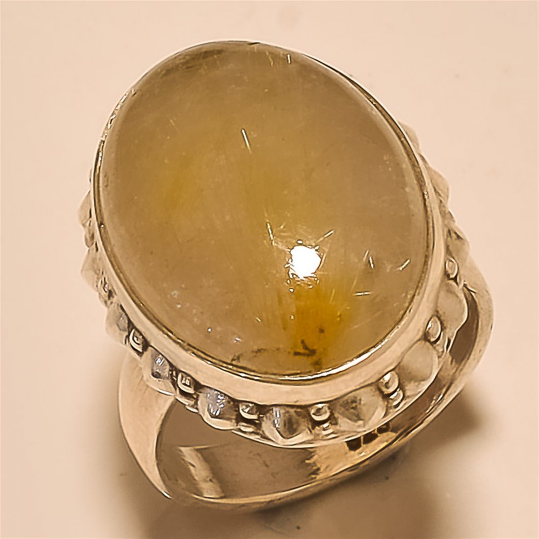 Golden Rutile RING Solid Sterling Silver
