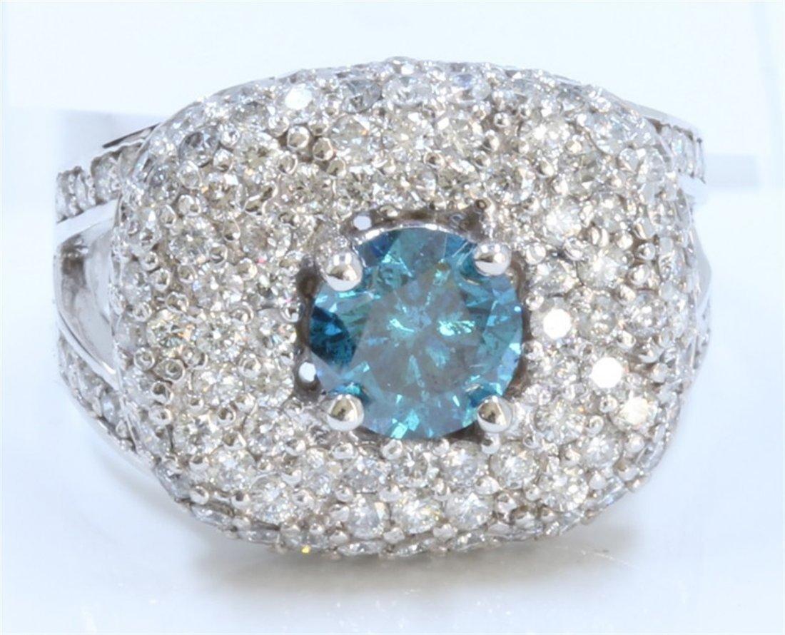 14K WHITE GOLD TREATED BLUE DIAMOND RING
