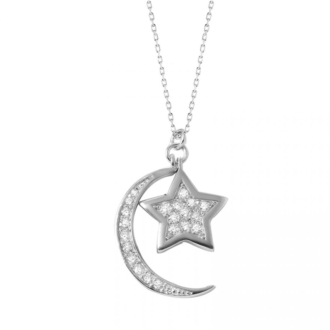 Sterling Silver Rhodium Plated Moon Star Necklace