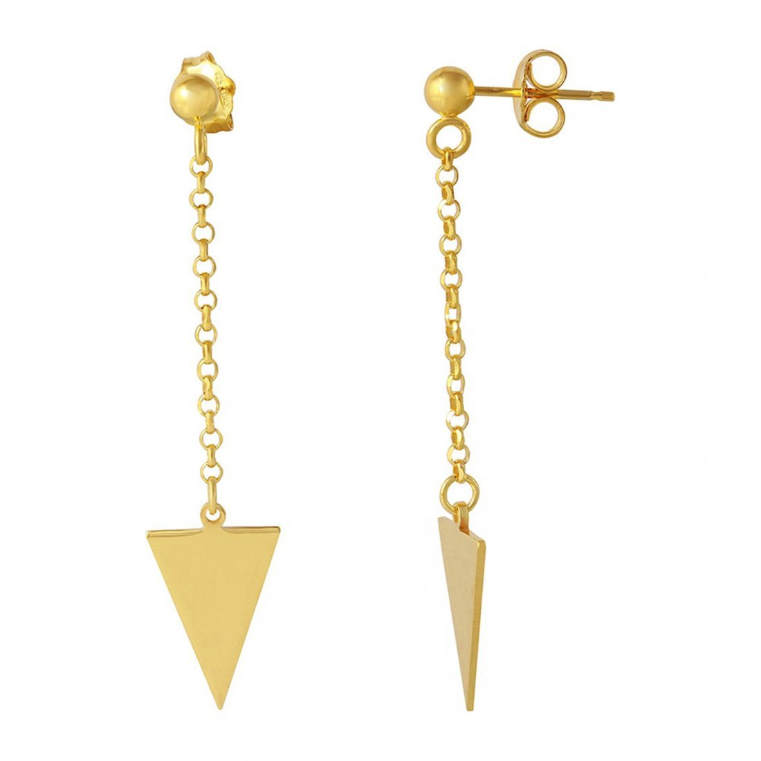 Sterling Silver Gold Plated Hanging Triangle Earrings -