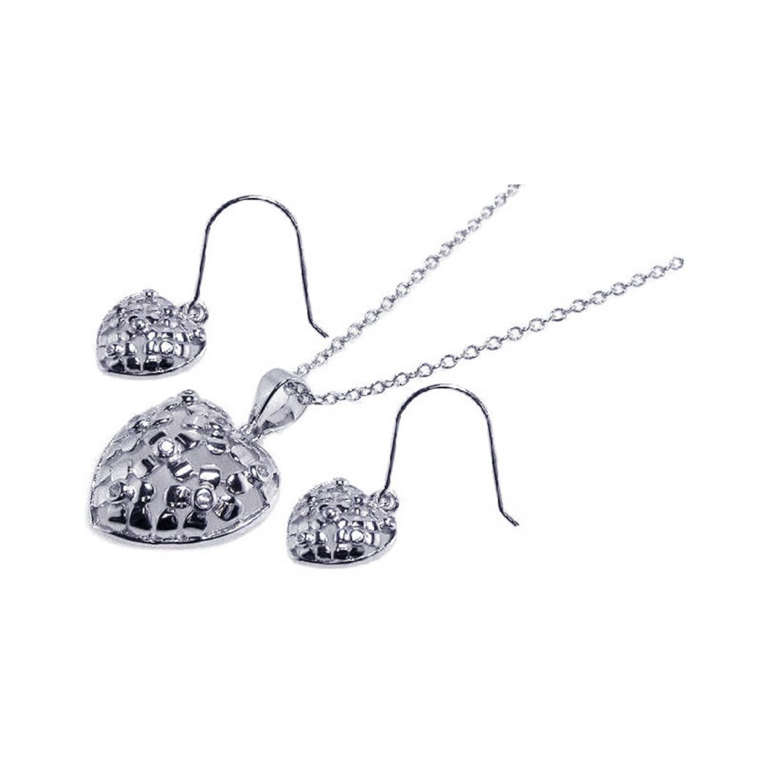 Sterling Silver Rhodium Plated Clear Heart CZ Hook