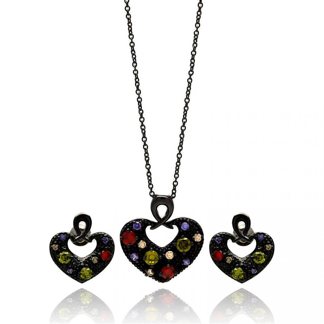 Brass Black Rhodium Plated Open Heart Multiple Color