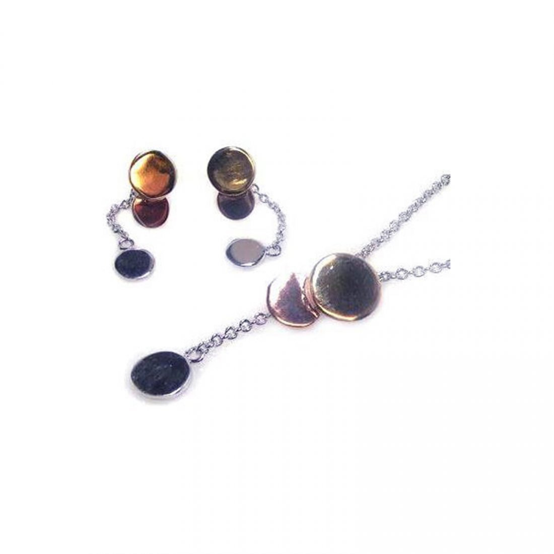 Sterling Silver Multicolor Rhodium Plated Graduated