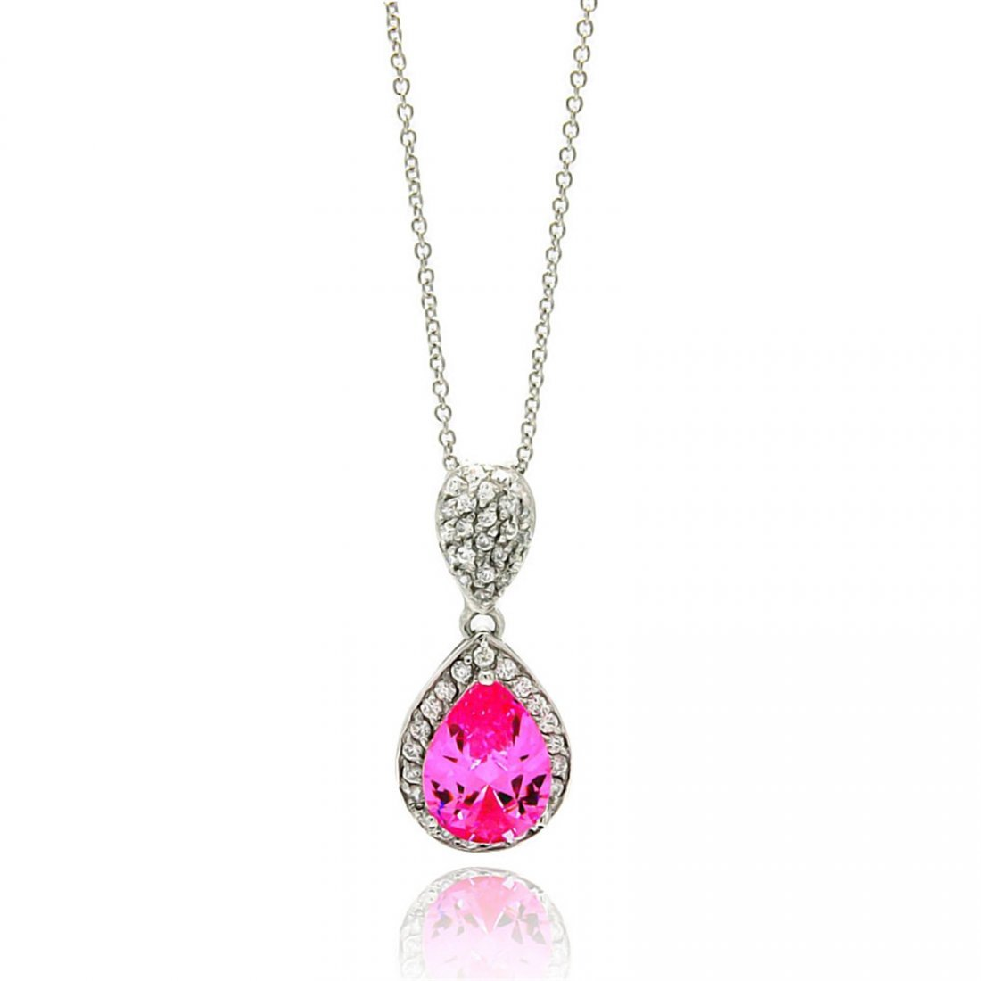 Sterling Silver Rhodium Plated Clear CZ & Pink CZ Pear