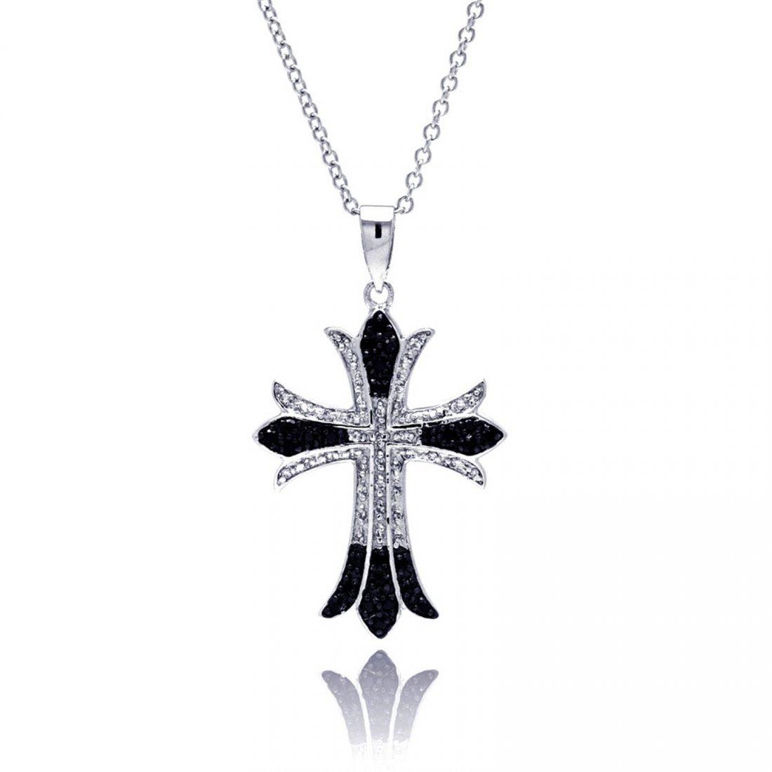 Sterling Silver Black & Rhodium Plated Cross CZ