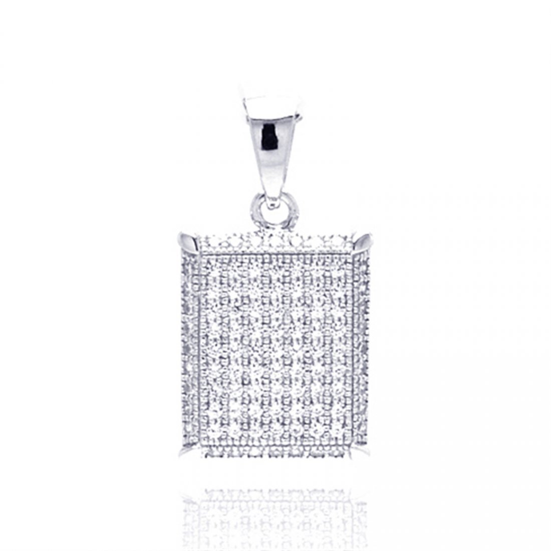 Sterling Silver Rhodium Plated Square Micro Pave CZ