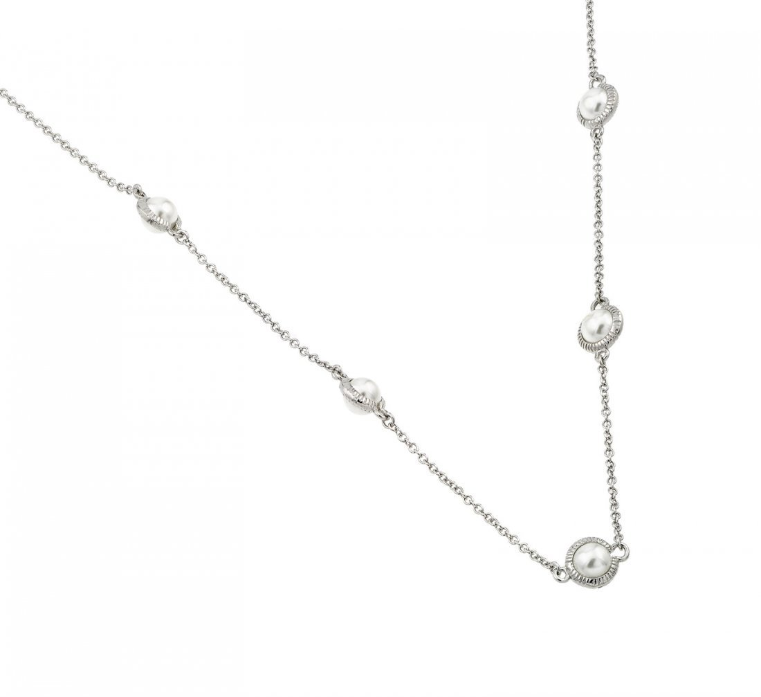 Sterling Silver Rhodium Plated Pearl Necklace BGP00984