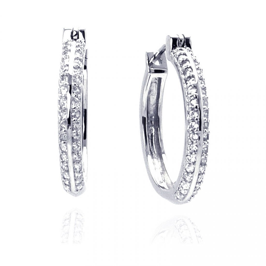 Sterling Silver Rhodium Plated Micro Pave Clear CZ Hoop