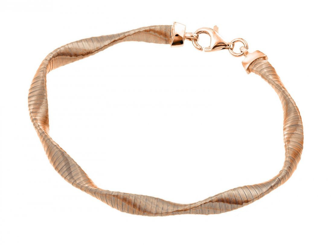 Sterling Silver Rose Gold Plated Mesh Twisted Italian