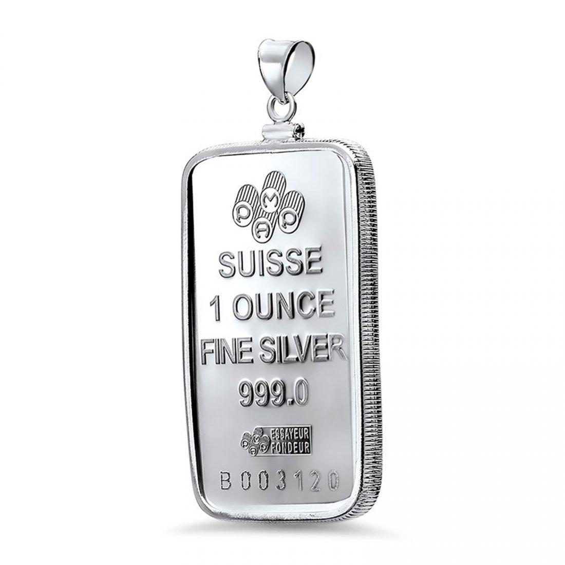 1 oz Silver Bar - Pamp Suisse Pendant (Fortuna) - 2