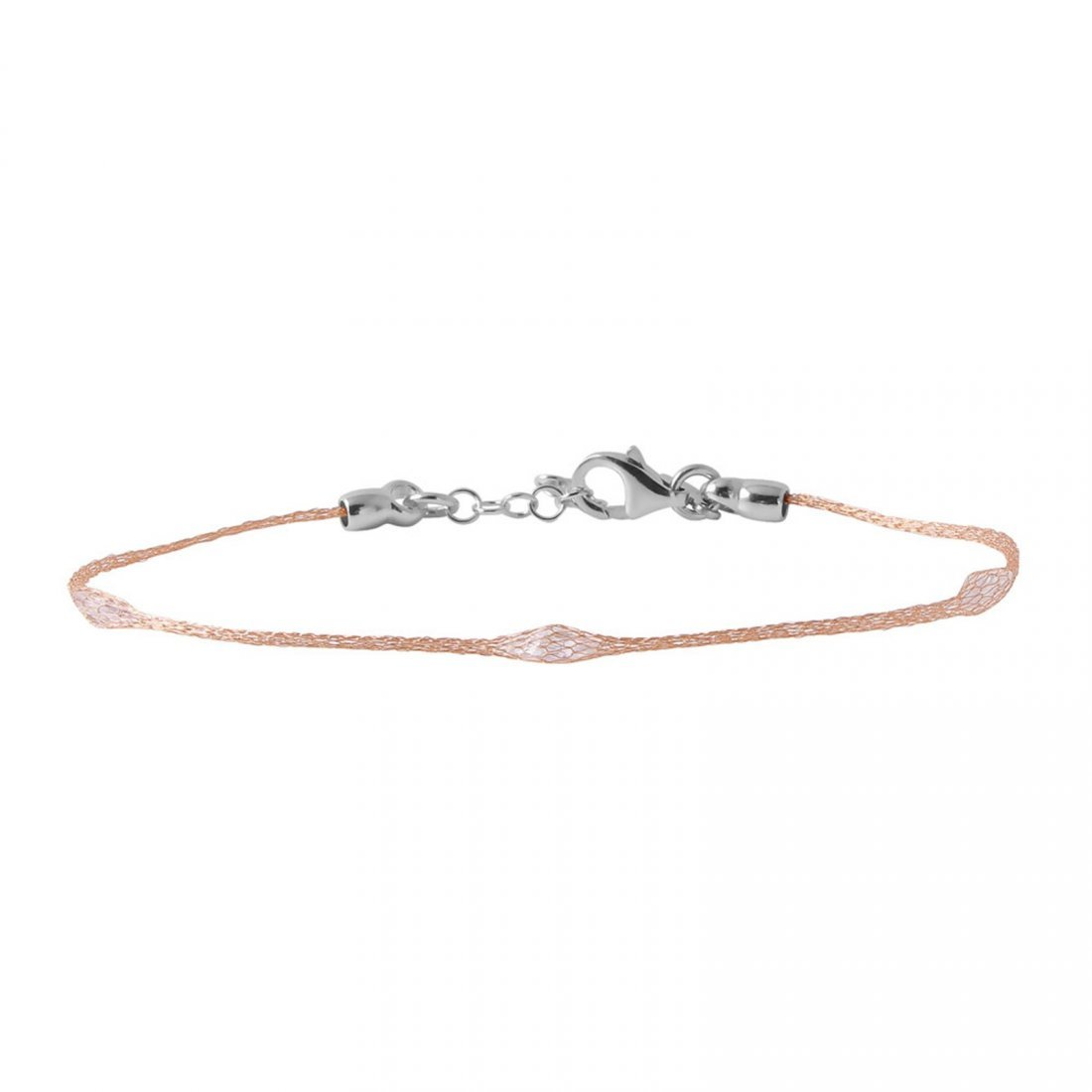 Sterling Silver Rose Gold Plated Mesh Embedded Thin CZ