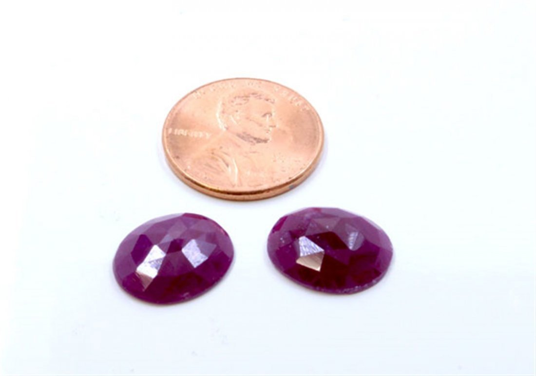 11 ct & up Natural Ruby Round Shaped Loose Stone 2Pcs