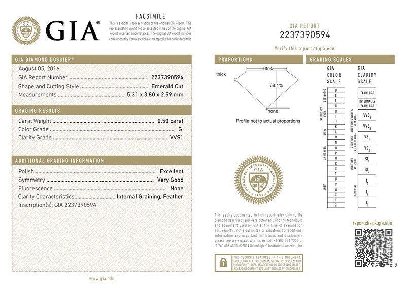 GIA/Emerald/G/VVS1/0.5Ct
