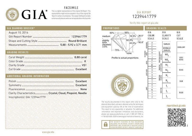 GIA/Round/K/VS1/0.8Ct
