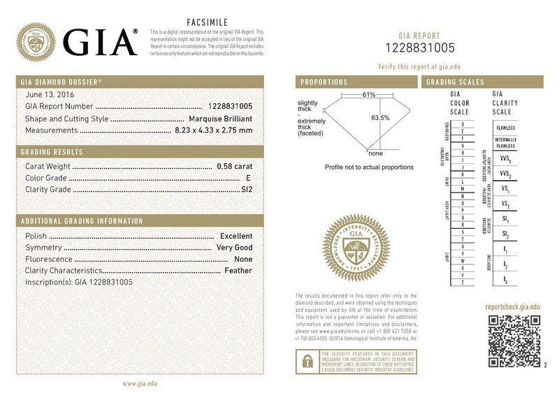 GIA/Marquee/E/SI2/0.58Ct