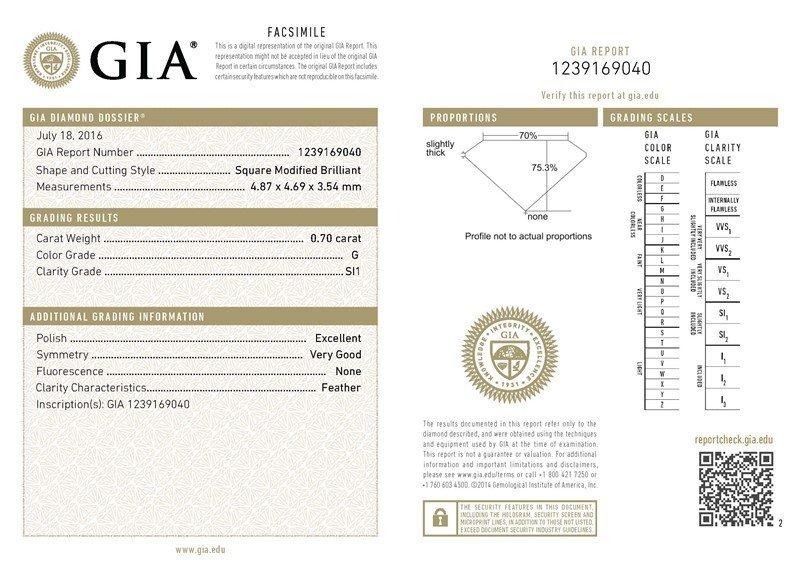 GIA/Princess/G/SI1/0.7Ct