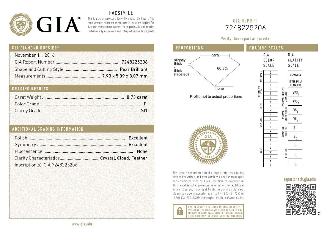 GIA/Pear/F/SI1/0.73Ct