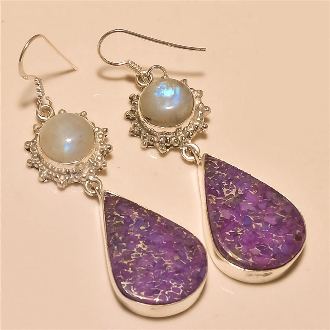 Purple Copper Turquoise/Moonstone Earring Solid