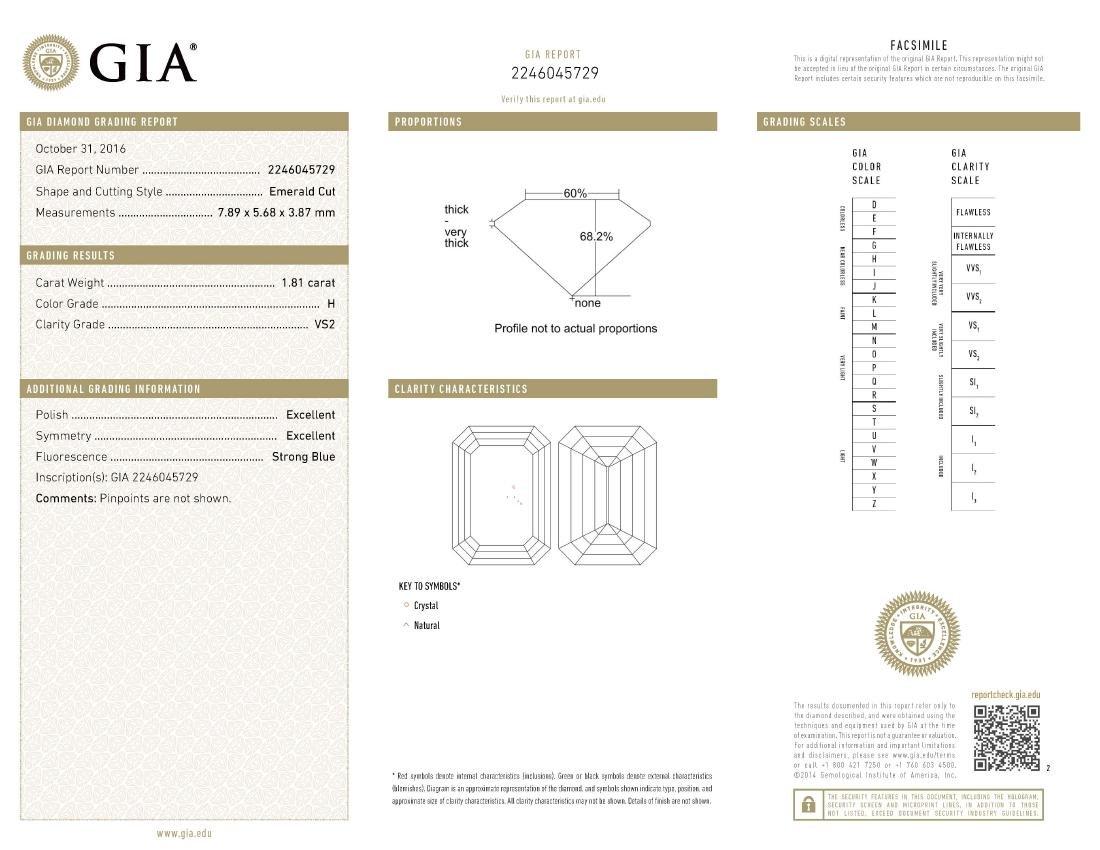 GIA/Emerald/H/VS2/1.81Ct