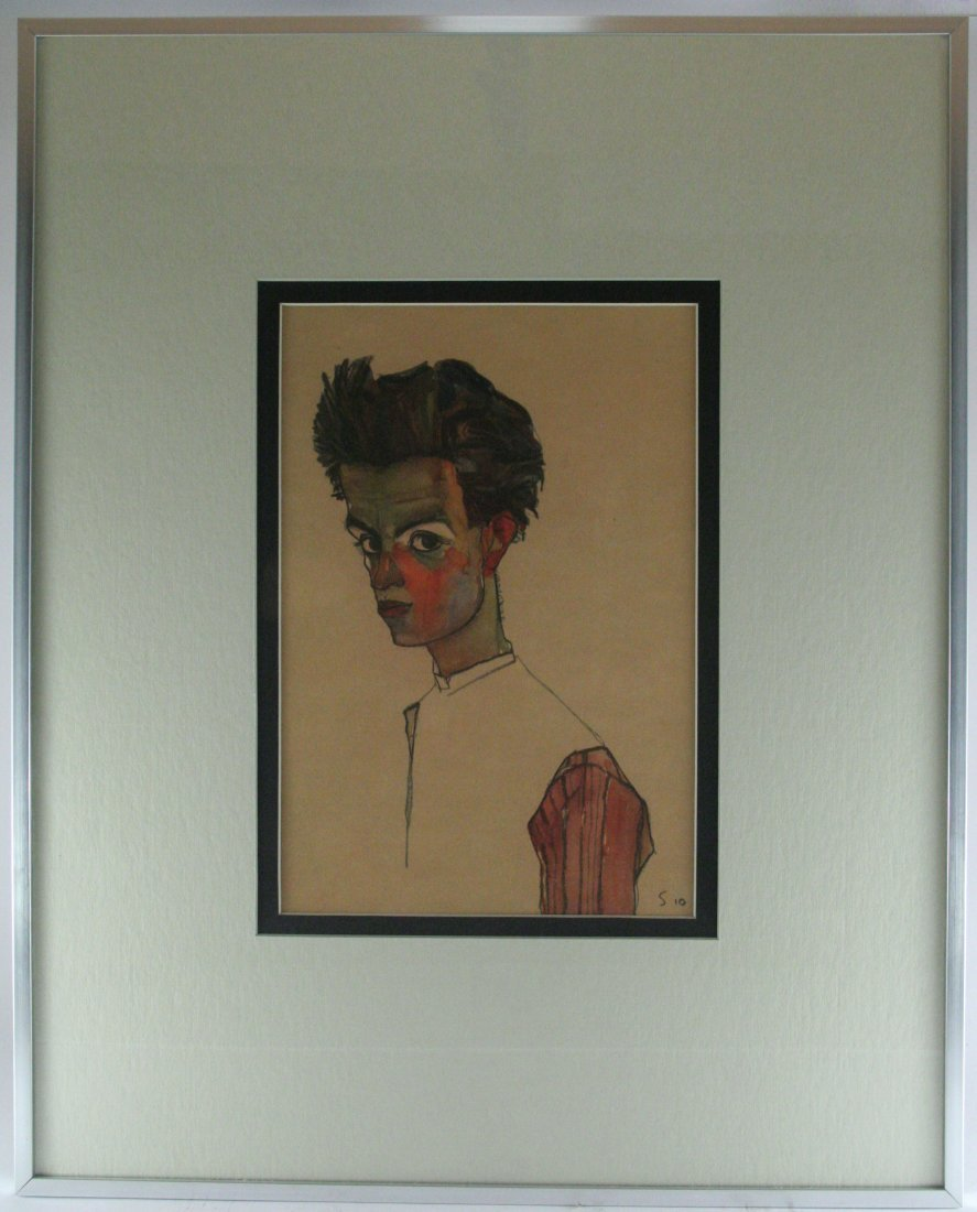 "Egon Schiele, ""Self Portrait with Striped Shirt, 1910"""