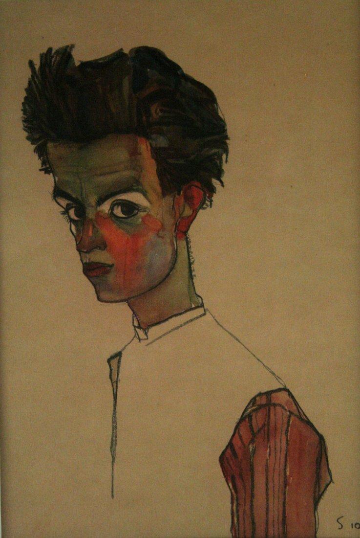 "Egon Schiele, ""Self Portrait with Striped Shirt, 1910"" - 2"