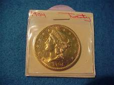 7: 1904 $20.00 American Gold Coin