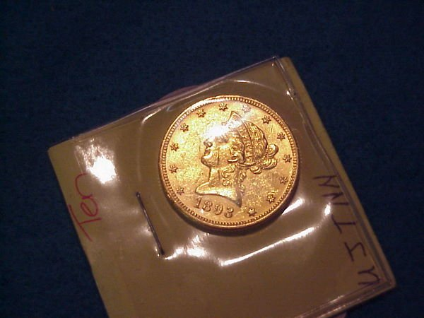 15: 1893 $10.00 American Gold Coin