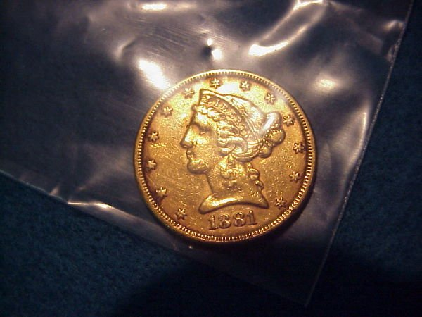 17: 1881 $5.00 American Gold Coin