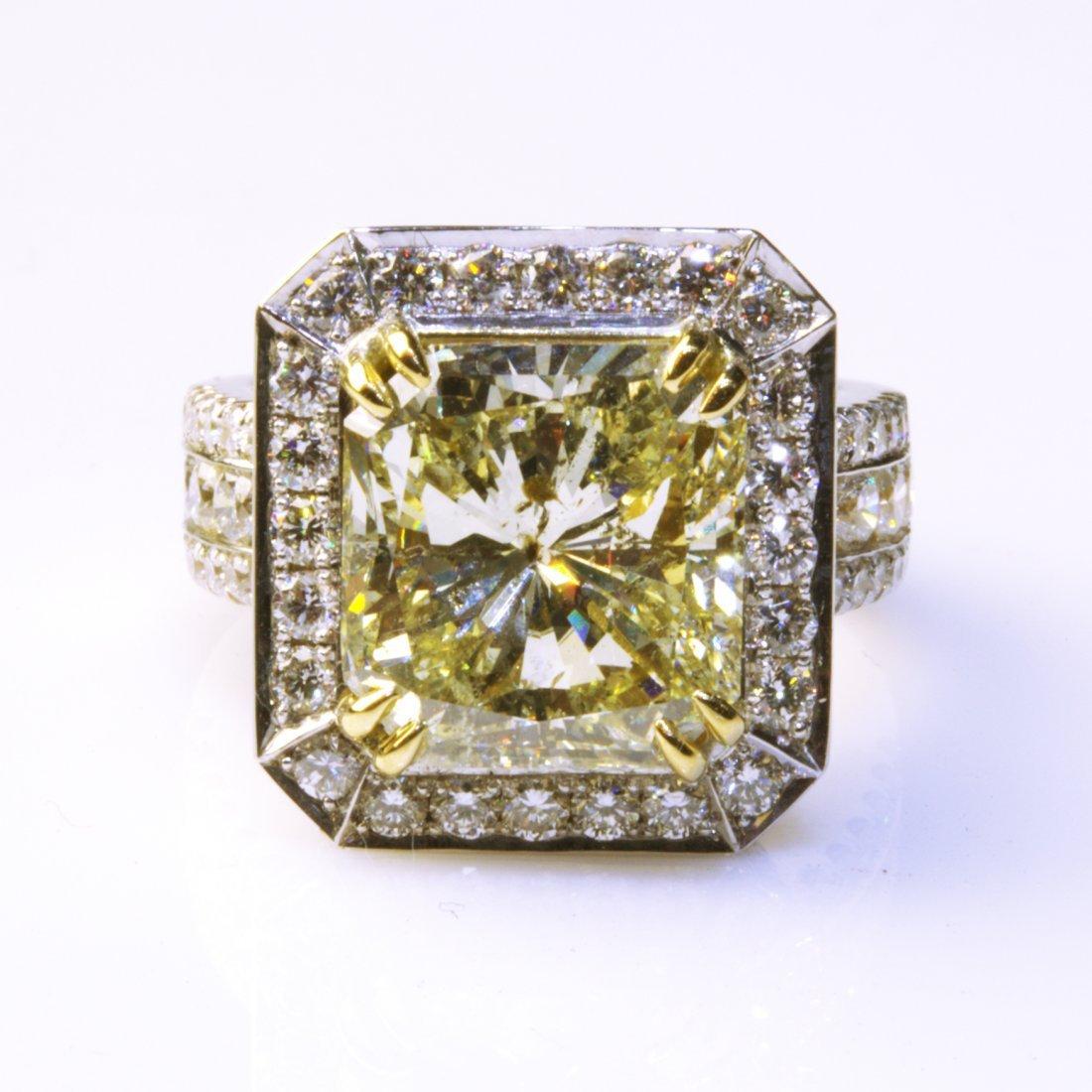 18K White Gold 8.51ctw Fancy Yellow Diamond Ring