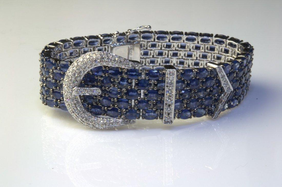 18K White Gold 91ct Saphire and Diamond Buckle Bracelet