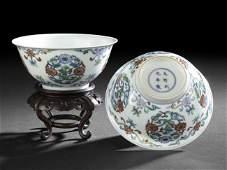 Pair Chinese Doucai Porcelain Rice Bowls