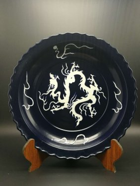 A Large Chinese Ming Mirror Blue White Dragon Porcelain