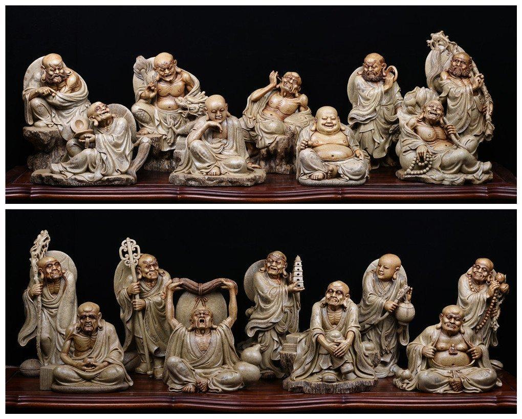 Chinese Qing dynasty Shoushan stone 18 arhats
