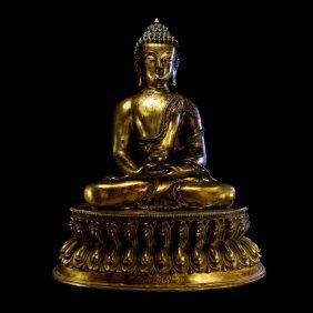 Sino-Tibetan Gilt Bronze Figure of Guanyin Buddha