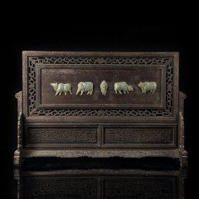 Chinese Rectangular Hetian Jade Screen