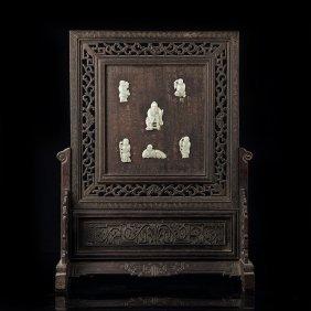 Rectangular hetian jade screen