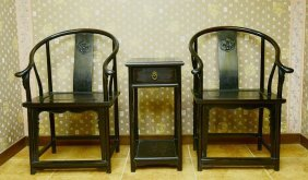 Chinese Pair of Zitan Wood Armchairs