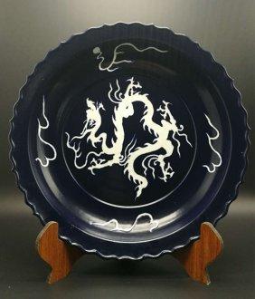 Chinese Large Ming Mirror Blue White Dragon Porcelain