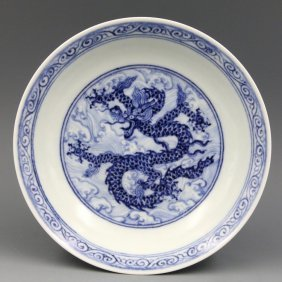 A Chinese Ming Blue and White Dragon Porcelain Plate