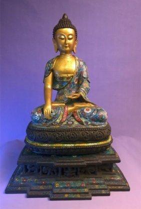 Chinese Qing Dynasty Cloisonne Buddha Figure