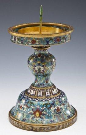 Chinese Qianlong Cloisonne Candlestick