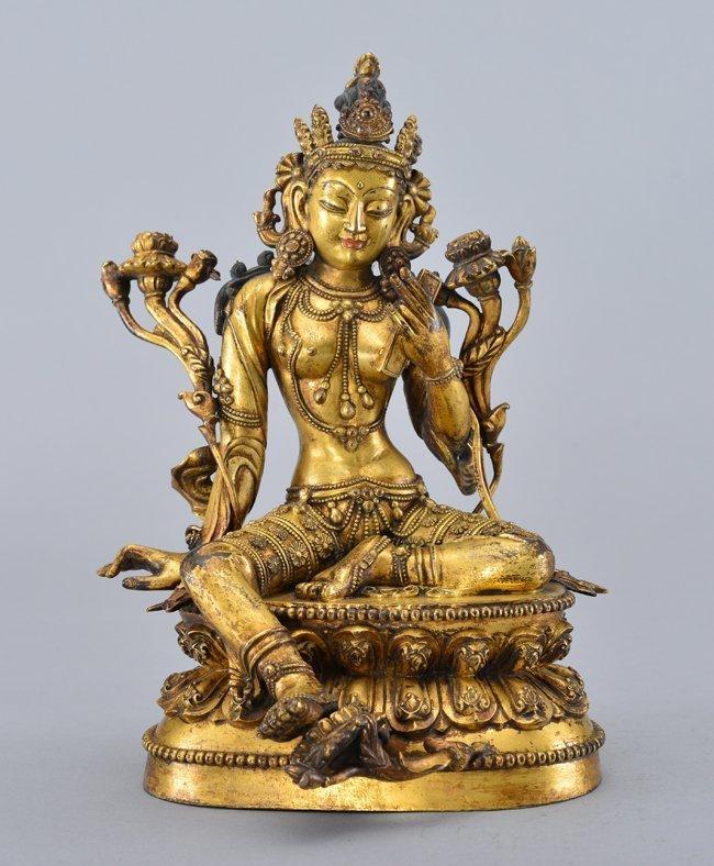 Nepalese Gilt Bronze Figure Of A Bodhisattva