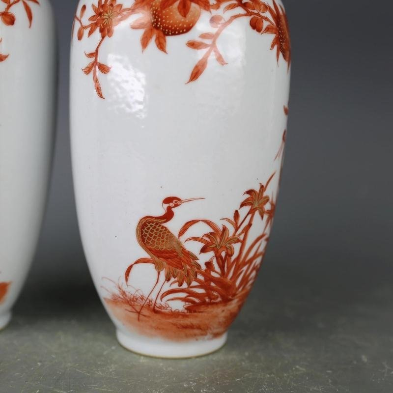Pair of Chinese Red And White Porcelain Vase - 5