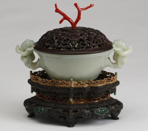 Carved celadon jade censer on stand, 19th c.