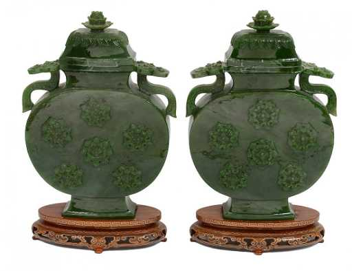 Pair Of Carved Spinach Jade Vases And Covers