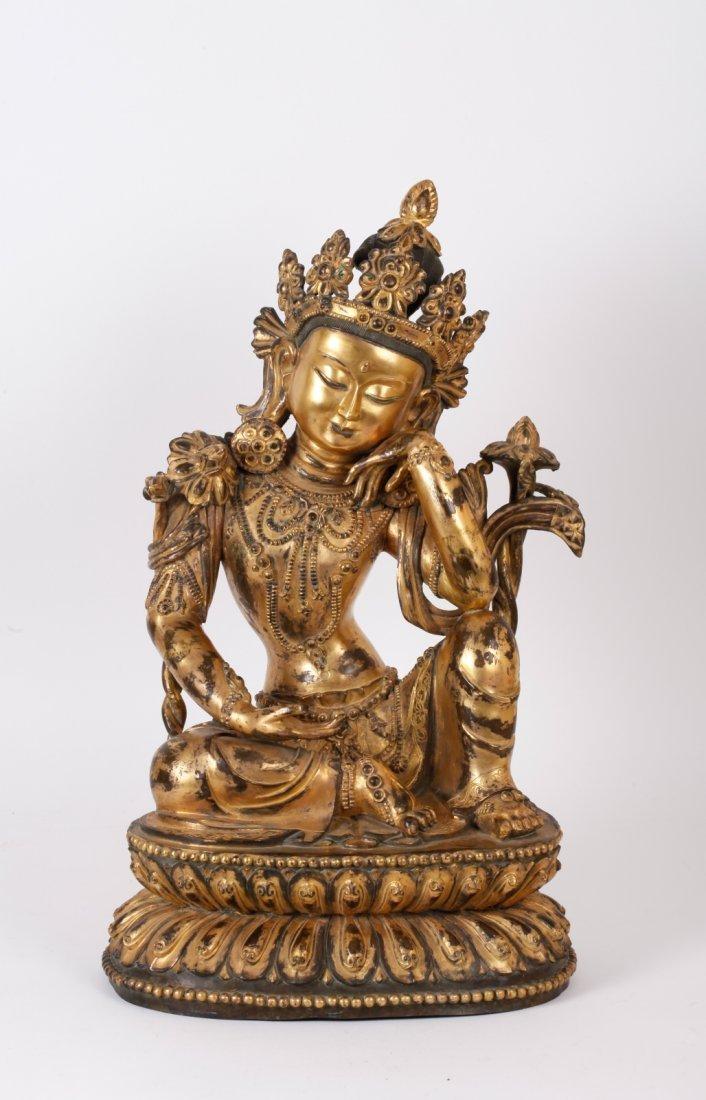 Chinese Ming Style Gilt Bronze Seated Buddha
