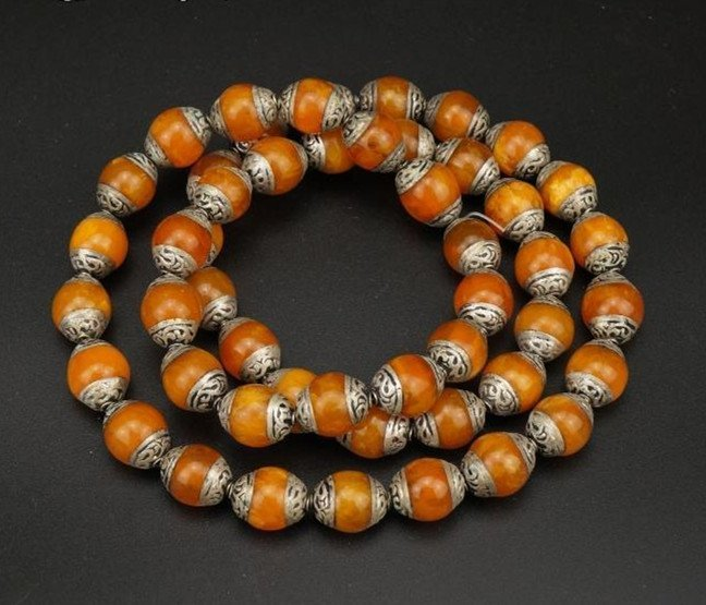 Chinese The Old Wax Inlaid Silver Necklace - 4