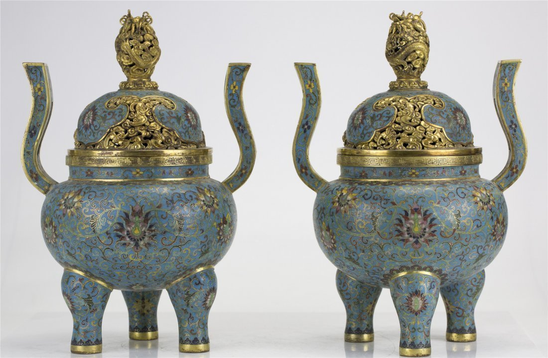 Pair of Chinese Closionne Censers
