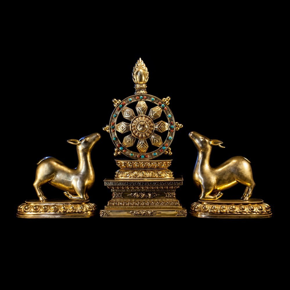 Nepal Two  Deer And Dharma wheel